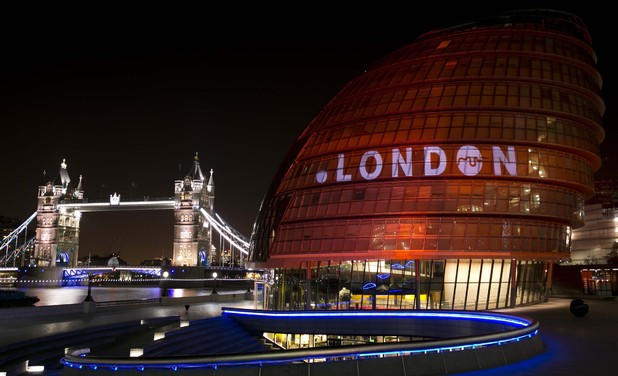 City Hall in central London lit red to celebrate the announcement that .London will be available as a new domain name in summer 2014