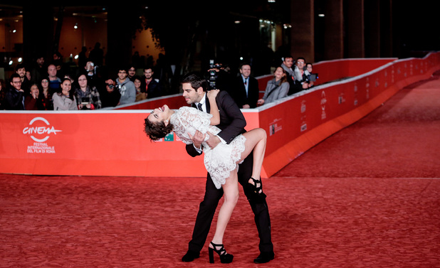 Lorenza Izzo and Eli Roth at the 'The Green Inferno' film premiere at the 8th International Rome Film Festival, Italy