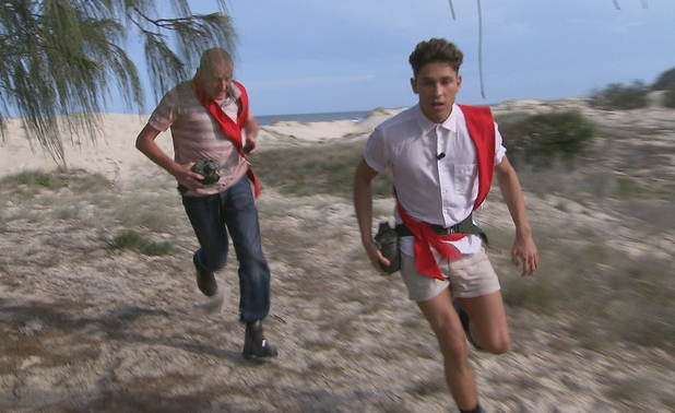 Joey Essex and Steve Davis lead the red team race.
