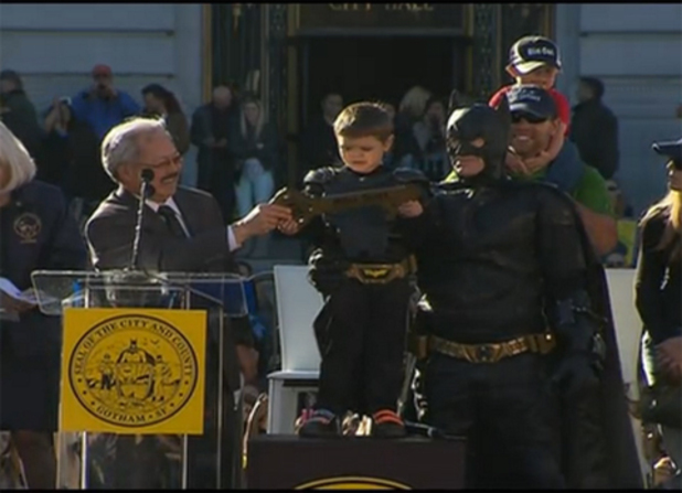 5-year-old Miles Scott receives the key to 'Gotham City' (San Francisco)