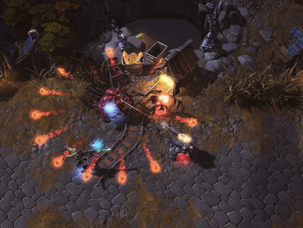 Heroes of the Storm screenshot: Diablo and Nova faceoff with Kerrigan and Raynor at the mineshaft