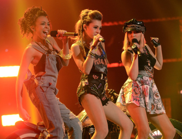 Sweet Suspense perform during The X Factor USA 80s week