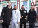 Boyband perform a medley of hits on the set of BBC's EastEnders.