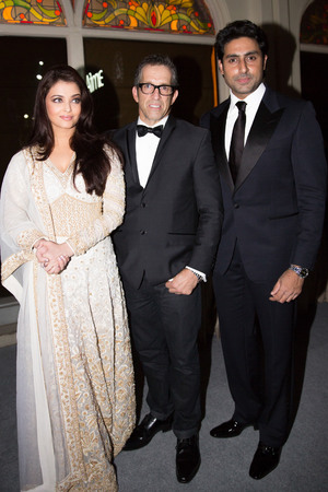 MUMBAI, INDIA - NOVEMBER 17: Aishwariya Rai Bachchan, Kenneth Cole and Abhishek Bachchan attend the inaugural amfAR India event at the Taj Mahal Palace Mumbai on November 17, 2013 in Mumbai, India. (Photo by Kevin Tachman/Getty Images)