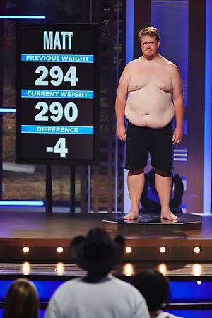 Matt's weigh-in during episode 6 of The Biggest Loser