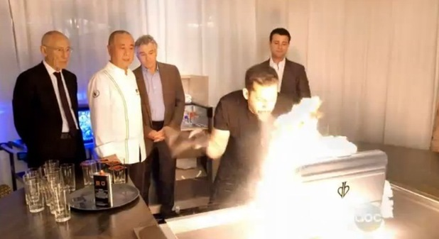 David Blaine breathes fire for Robert De Niro