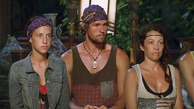 Ciera Eastin, Hayden Moss and Laura Morett at Tribal Council in 'Survivor: Blood vs Water' - 'Big Bad Wolf'