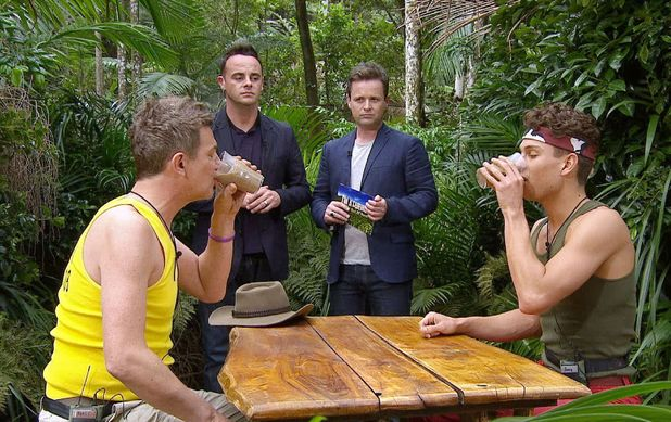 Matthew Wright and Joey Essex with Ant and Dec at the Bushtucker Trial 'Monday Night Takeaway'