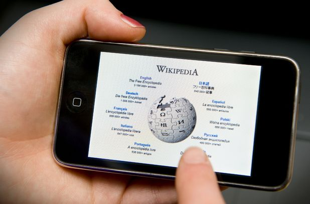 Wikipedia shown on an iPhone
