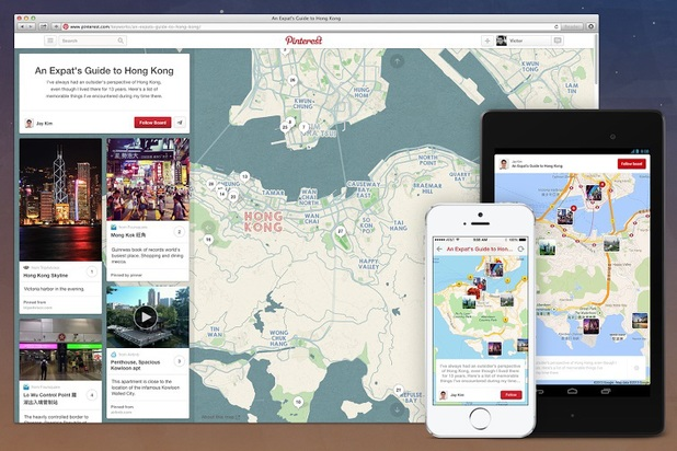 Pinterest's new Travel Pins feature