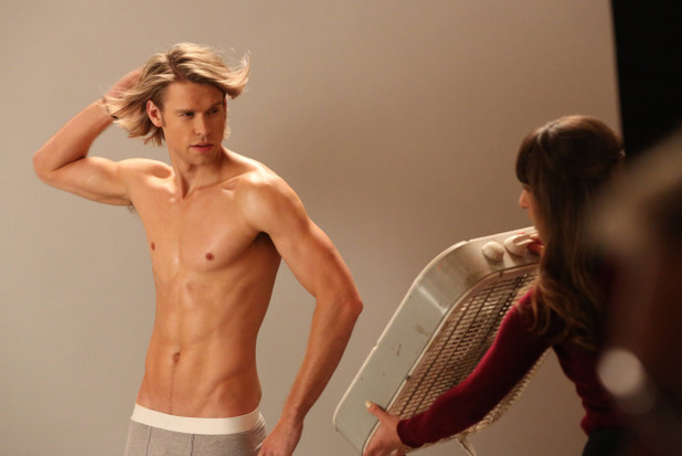 Chord Overstreet as Sam and Lea Michele as Rachel in Glee: 'Movin' Out'