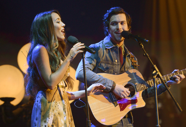 Alex and Sierra perform during The X Factor USA British Invasion week