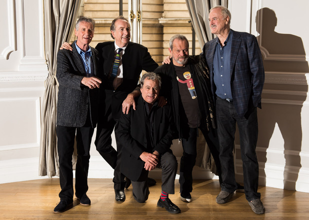 (Left-right) Michael Palin, Eric Idle, Terry Jones, Terry Gilliam and John Cleese announce their new plans for Monty Python at the Corinthia Hotel in London.