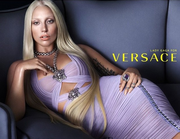 Lady Gaga poses for Versace in SS14 campaign ad.