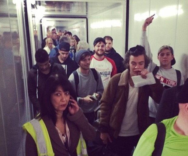 Lily Allen takes a photo of One Direction