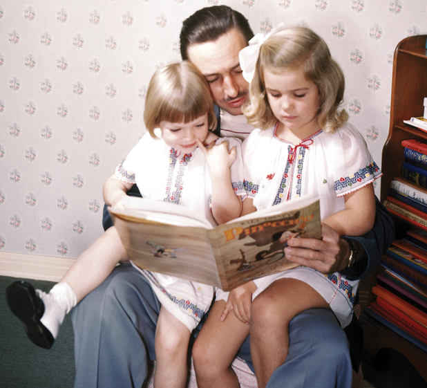 Walt Disney with daughters Sharon (left) and Diane (right)