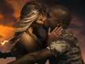 Kim Kardashian rides a motorbike with Kanye West in video clip for 'Bound 2'.