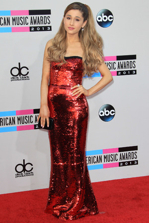 Ariana Grande arrives at the American Music Awards at the Nokia Theatre L.A. Live on Sunday, Nov. 24, 2013, in Los Angeles