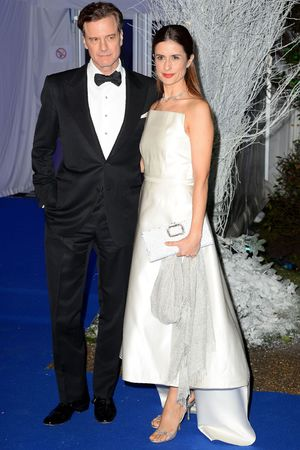 Winter Whites Centrepoint Gala, Kensington Palace, London, Britain - 26 Nov 2013 Colin Firth and Livia Giuggioli