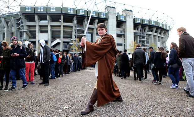 Chris Twamley from Reading is dressed as Obi-Wan Kenobi at the Star Wars 7 open auditions in London