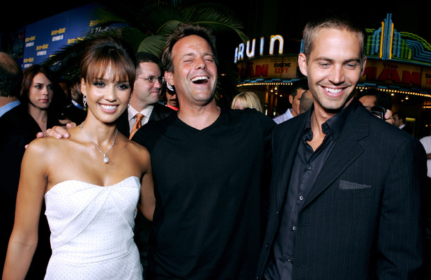 Jessica Alba, John Stockwell and Paul Walker, Into the Blue premiere, 2005