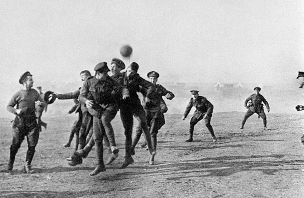Officers and men enjoy a football game in Greece during World War One