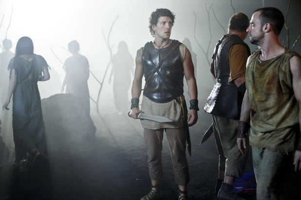 Jack Donnelly as Jason and Ciaran Griffiths as Cyrus in Atlantis episode 9: 'Pandora's Box'