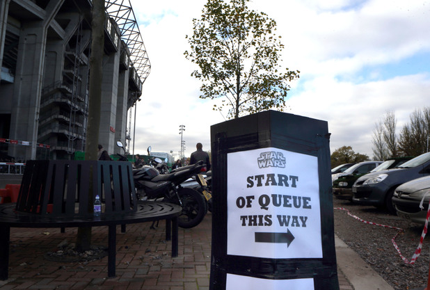 A sign points the way at the Star Wars 7 open auditions in London