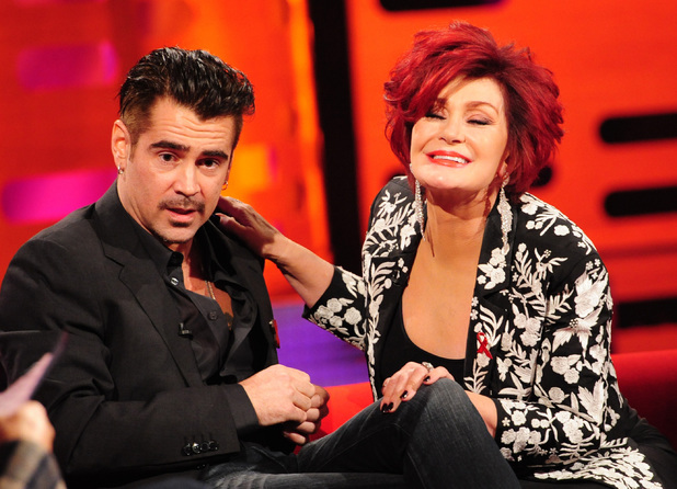 Sharon Osbourne, Colin Farrell during the filming of the Graham Norton Show at The London Studios, south London, to be aired on BBC One on Friday evening. Picture date: Thursday November 28, 2013. Photo credit should read: Ian West/PA Wire