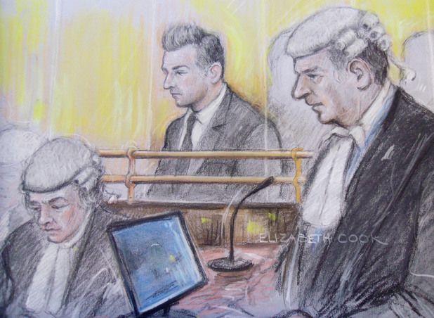 Court artist sketch by Elizabeth Cook of former Lostprophets singer Ian Watkins, in the dock at Cardiff Crown Court