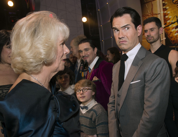 The Duchess of Cornwall and Jimmy Carrduring the Royal Variety Performance, at the London Palladium, in central London.