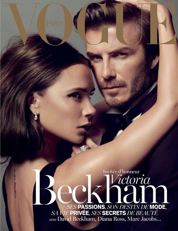 David and Victoria Beckham on the cover of the Christmas issue of Vogue Paris