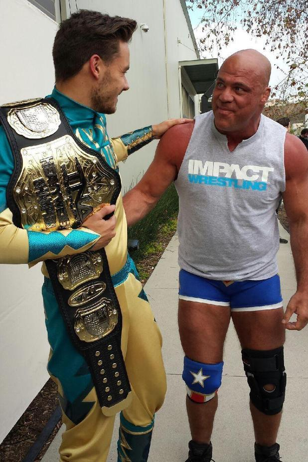 Liam Payne and Harry Styles meet Kurt Angle