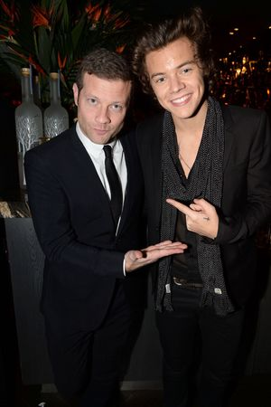 Playboy 60th anniversary party at the Playboy Club, London, Britain - 02 Dec 2013 Dermot O'Leary and Harry Styles