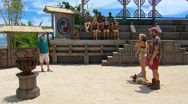 Jeff addresses Tina, Laura and Caleb during the twelfth episode of Survivor Blood vs Water: 'Rustle Feathers'