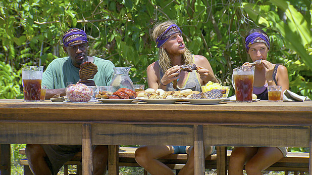 Gervase, Tyson and Ciera feast during Survivor: Blood vs Water: 'Gloves Come Off'