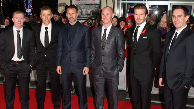 David Beckham, Paul Scholes, Nicky Butt, Ryan Giggs and Phil and Gary Neville