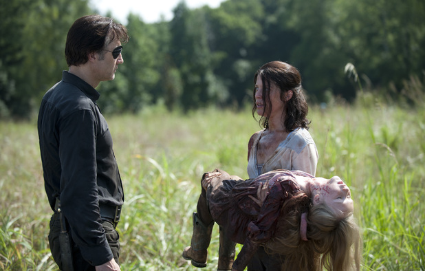 The Governor (David Morrissey), Lilly (Audrey Marie Anderson) and Meghan (Meyrick Murphy)  in The Walking Dead: 'Too Far Gone'