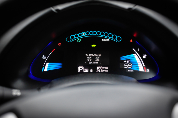 The Nissan Leaf instrument cluster