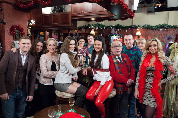 Cheryl Cole with the cast of Coronation Street