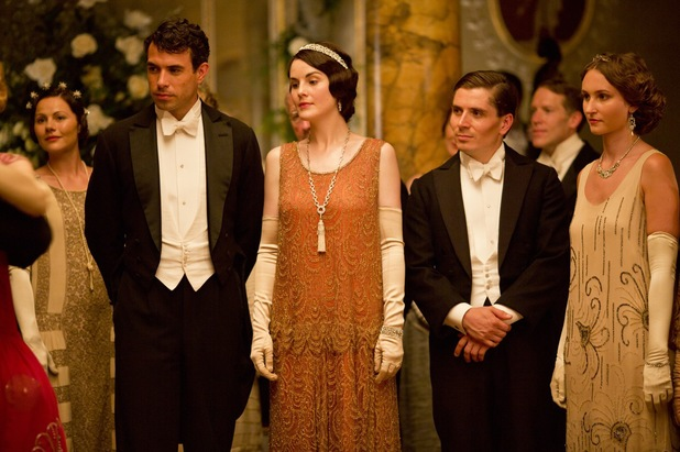 Tom Cullen as Lord Gillingham and Michelle Dockery as Lady Mary in Downton Abbey Christmas Special
