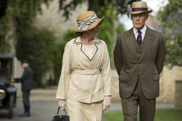 Penelope Wilton as Isobel Crawley and Douglas Reith as Lord Merton in Downton Abbey Christmas Special