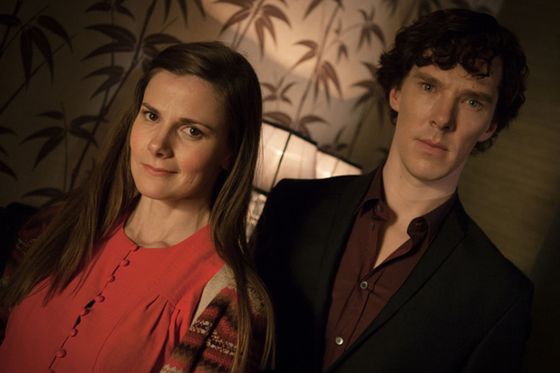 Benedict Cumberbatch and Louise Brealey in Sherlock Series 3
