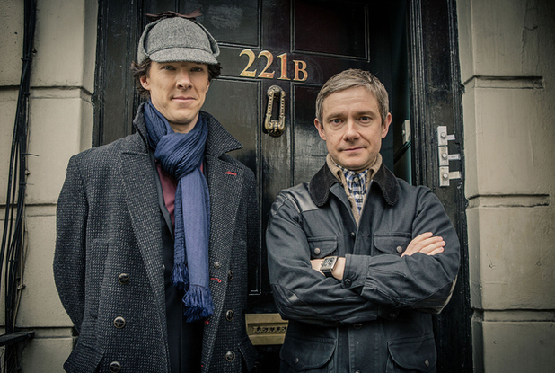 Benedict Cumberbatch as Sherlock Holmes and Martin Freeman as John Watson