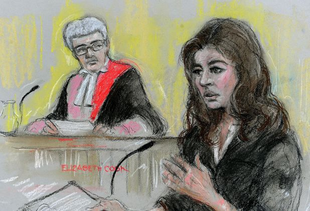 Court artist's sketch of Nigella Lawson giving evidence at the fraud trial of two former PAs.