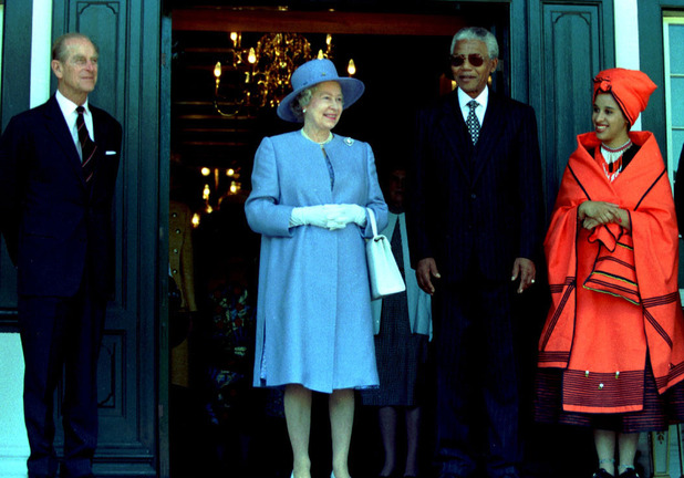 Prince Phillip, The Queen, President Mandela and his Neice Rochelle Mtirara in Cape Town