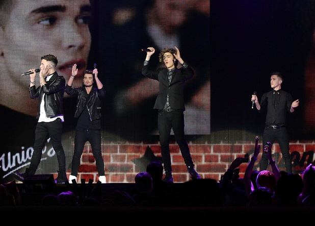 Union J performing on stage during the 2013 Capital FM Jingle Bell Ball at the O2 Arena, London.