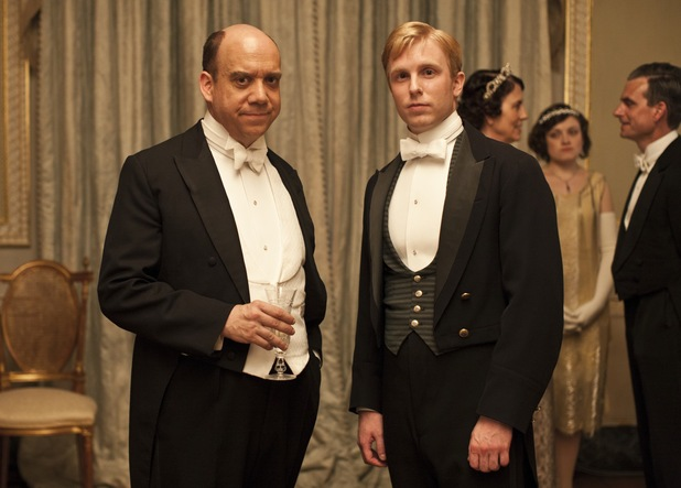 Paul Giamatti as Harold Levinson and Michael Benz as Ethan in Downton Abbey Christmas Special