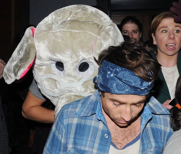 Celebrities leaving the Groucho Club, London, Britain - 30 Nov 2013 Harry Styles leaving the Groucho club wearing an elephant mask after a night out with Nick Grimshaw 30 Nov 2013