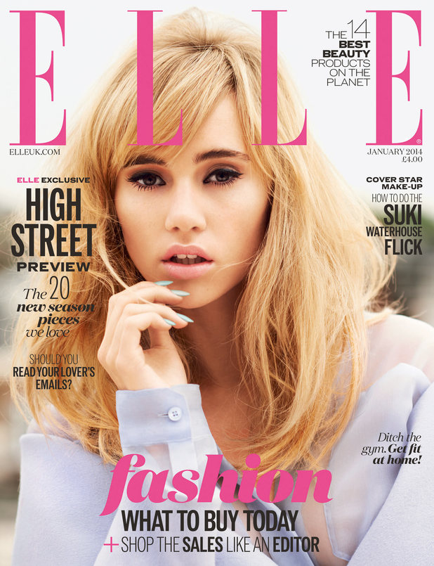 Suki Waterhouse on the cover of Elle magazine